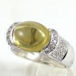 แหวนพลอยผู้หญิงเงินแท้ 92.5 เปอร์เซ็น ฝังด้วยพลอยเลมอนควอทซ์แท้