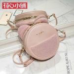 กระเป๋าสะพายทรงกลมสีชมพู แบรนด์ Axixi ของแท้ 💯%
