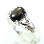แหวนพลอยผู้หญิงเงินแท้ 92.5 เปอร์เซ็น ฝังด้วยพลอยสตาร์แซฟไฟร์แท้