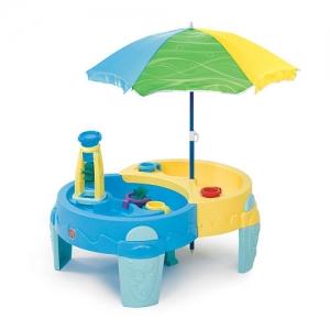 โต๊ะเล่นน้ำ และ ทราย พร้อมร่มกันแดด Step2 Shady Oasis Sand & Water Table สีเหลือง ฟ้า