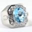 แหวนพลอยผู้ชายเงินแท้ 92.5 เปอร์เซ็น ฝังด้วยพลอยสวิสบลูโทปาซแท้ thumbnail 6