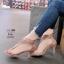 รองเท้าส้นสูงรัดข้อ หนังกำมะหยี่ 10176-ชมพู PINK