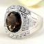 แหวนพลอยผู้ชายเงินแท้ 92.5 เปอร์เซ็น ฝังด้วยพลอยสโมกกี้ควอทซ์แท้ thumbnail 4