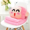 หมอนผ้าห่ม ลายลิงน้อยแฮปปี้ สีชมพู