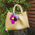กระเป๋าถือ ทรงจีบ สีธรรมชาติ