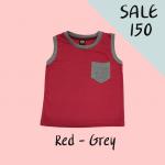 เสื้อกล้ามสำหรับเด็ก สีแดง เนื้อผ้าคอตตอน 100%