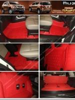 พรมปูพื้นรถยนต์ ISUZU MU-X รุ่น PROMAT ลายหนังแท้ รีดขอบ สีแดง (เต็มคัน)