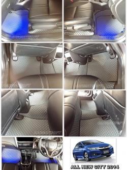 พรมปูพื้นรถยนต์ ALL NEW CITY 2014 ลายกระดุม สีเทาขอบดำ เต็มคัน เข้ารูป100% (พื้นหลังเรียบ+ตีนตุ๊กแก)