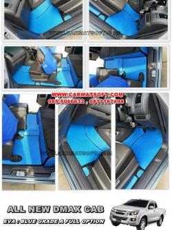 พรมปูพื้นรถยนต์ ALL NEW DMAX CAB ลายกระดุม สีน้ำเงินขอบดำ เต็มคัน เข้ารูป100% (พื้นหลังเรียบ+ตีนตุ๊กแก)