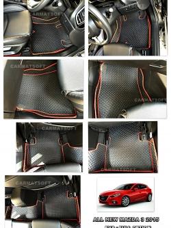 พรมปูพื้นรถยนต์ ALL NEW MAZDA 3 ลายกระดุม สีดำขอบแดง เต็มคัน เข้ารูป100% (พื้นหลังเรียบ+ตีนตุ๊กแก)