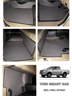 พรมปูพื้นรถยนต์ VIGO CAB ลายกระดุม สีเทาขอบดำ เต็มคัน เข้ารูป100% (พื้นหลังเรียบ+ตีนตุ๊กแก)