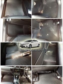 พรมปูพื้นรถยนต์ ALL NEW ALTIS 2014 ลายกระดุม สีดำด้ายแดง เต็มคัน เข้ารูป100% (พื้นหลังเรียบ+ตีนตุ๊กแก)