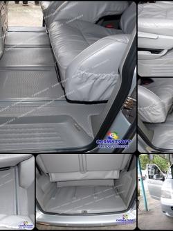 ยางปูพื้นรถยนต์ VOLKSWAGEN CARAVELLE รุ่น MINI MAT กระดุมเม็ดเล็ก สีเทา เต็มคัน