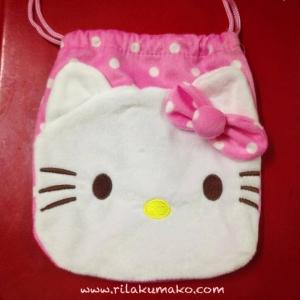 ถุงผ้าหูรูด Hello Kitty คิตตี้ สีชมพู