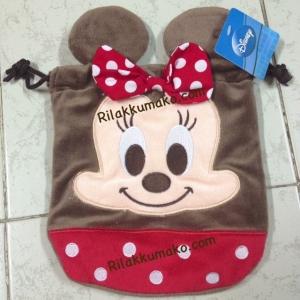 ถุงผ้าหูรูด ลาย มินนี่ เมาส์ Minnie Mouse ขนาดกระเป๋า8x7นิ้ว