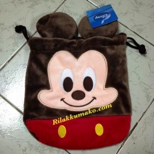 ถุงผ้าหูรูด ลาย มิกกี้ เมาส์ Mickey Mouse ขนาดกระเป๋า8x7นิ้ว