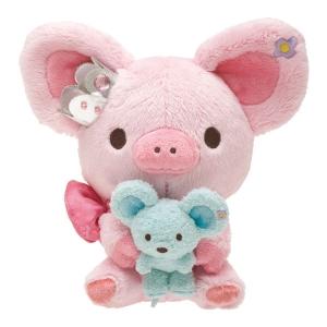 ตุ๊กตา san-x Piggy Girl หมูชมพู ขนาด 8นิ้ว อุ้มหนู น่ารักเวอร์