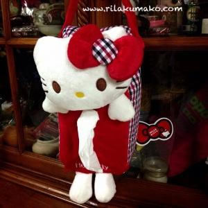 ที่ใส่ทิชชู่ แขวนหลังเบาะรถ ลาย Hello Kitty คิตตี้ สีแดง