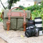 กระเป๋ากล้องสะพาย Canvas retro สีเขียว