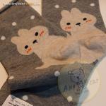 ถุงเท้าลายกระต่ายสีเทา