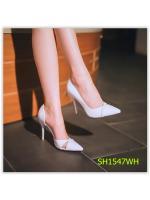 Pre รองเท้าส้นสูง คัทชู แฟชั่น ราคาถูก มีไซด์ 35-39 สีขาว