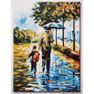 """TE085 ภาพระบายสีตามตัวเลข """"พ่อเดินกางร่มกับลูก"""""""
