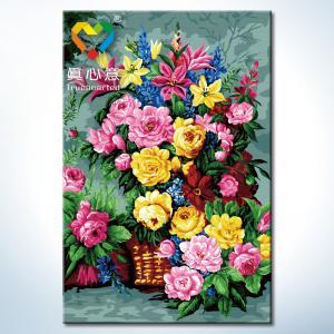 """TK010 ภาพระบายสีตามตัวเลข """"ตระกร้าดอกไม้ชมพูเหลืองแดง"""""""