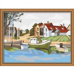 """ME045 ภาพระบายสีตามตัวเลข """"ท่าเรือในหมู่บ้าน"""""""