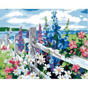 """MQ084 ภาพระบายสีตามตัวเลข """"ดอกไม้หลากสีริมรั้ว"""""""
