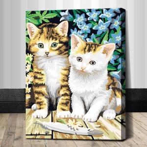 """TE033 ภาพระบายสีตามตัวเลข """"ลูกแมวสองตัว"""""""