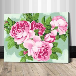 """TE153 ภาพระบายสีตามตัวเลข """"ดอกไม้สีชมพู"""""""
