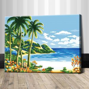 """TE159 ภาพระบายสีตามตัวเลข """"หาดทรายขาวกับต้นมะพร้าว"""""""