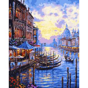 """MG694 ภาพระบายสีตามตัวเลข """"ยามค่ำในคลองเวนิส"""""""
