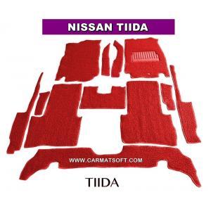 พรมดักฝุ่นไวนิล NISSAN TIIDA สีแดง เต็มคัน สวยงาม เข้ารูป100% หนานุ่ม เหยียบนุ่มสบายเท้า ดักฝุ่น ดักทราย กันน้ำ ได้ดีที่สุด...ส่งฟรี