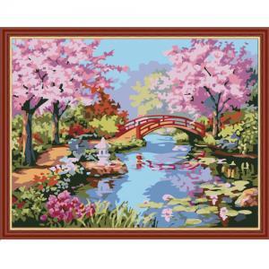 """MQ086 ภาพระบายสีตามตัวเลข """"ซากุระในสวนญี่ปุ่น"""""""