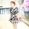 Dress098 - เดรสแฟชั่นนำเข้า เดรสราคาถูก เดรสลายดอกสีดำ พื้นสีขาว สวยงามจ้า อก 34 ((เดรสแฟชั้นพร้อมส่ง))