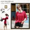 ***Top -032 เสื้อชีฟองแขนขาว สีแดงขาว ใส่สบาย อก 36 ยาว26 ((สินค้าพร้อมส่ง))