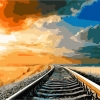 """MG643 ภาพระบายสีตามตัวเลข """"ทางรถไฟในทุ่งกว้าง"""""""