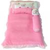 ชุดเบาะที่นอนเด็กผ้าขนหนูรุ่นเล็ก พร้อมกระเป๋าพลาสติกสำหรับพกพา (สีชมพู)