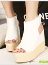 Pre รองเท้าส้นเตารีด ราคาถูก สีขาว มีไซด์ 34-39