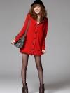 (พร้อมส่ง)เสื้อกันหนาว/เสื้อไหมพรม/เสื้อแขนยาว มีฮู้ด สีแดง