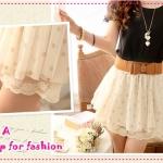 [พร้อมส่ง] กระโปรงชีฟองลายจุดพร้อมเข็มขัดสี Apricot Spring and summer of 2012 the new Women wave point lace chiffon the Pompon net yarn skirts with belt