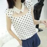 [Preorder] เสื้อชีฟองแฟชั่นแขนสั้นช่วงบนโปร่ง ลายจุด Little Polka Dot cute love dolls chest fluoroscopy lapel chiffon shirt
