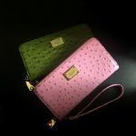 พร้อมส่งค่ะ ZARA BASIC กระเป๋าสตางค์หนังนกกระจอกเทศ สีเขียว Retro Green