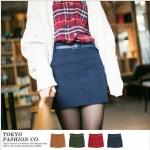 [Preorder] กระโปรงทำงานแฟชั่นสั้นพร้อมเข็มขัดหนัง สีน้ำเงิน The micro sanding with color belt the fake pocket skirt