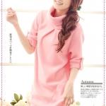 [Preorder] เดรสแฟชั่นแขนสามส่วน สีชมพู autumn and winter Taiwan lapel bristles dress