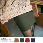 [Preorder] กระโปรงทำงานแฟชั่นสั้นพร้อมเข็มขัดหนัง สีเขียว The micro sanding with color belt the fake pocket skirt