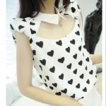 [Preorder] เสื้อชีฟองแฟชั่นแขนสั้นช่วงบนโปร่ง ลายหัวใจ Little Heart cute love dolls chest fluoroscopy lapel chiffon shirt