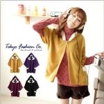 [Preorder] เสื้อคลุมแฟชั่นแขนสั้นมีฮู๊ด สีเหลืองมัสตาร์ด Fur trim hooded cape coat
