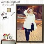 Top -061 เสื้อเชื้ตแขนยาวสีขาวประดับคอ น่ารักจ้าาาผ้านิ่มใส่สบาย อก ได้ถึง36 ((สินค้าพร้อมส่งค่ะ))